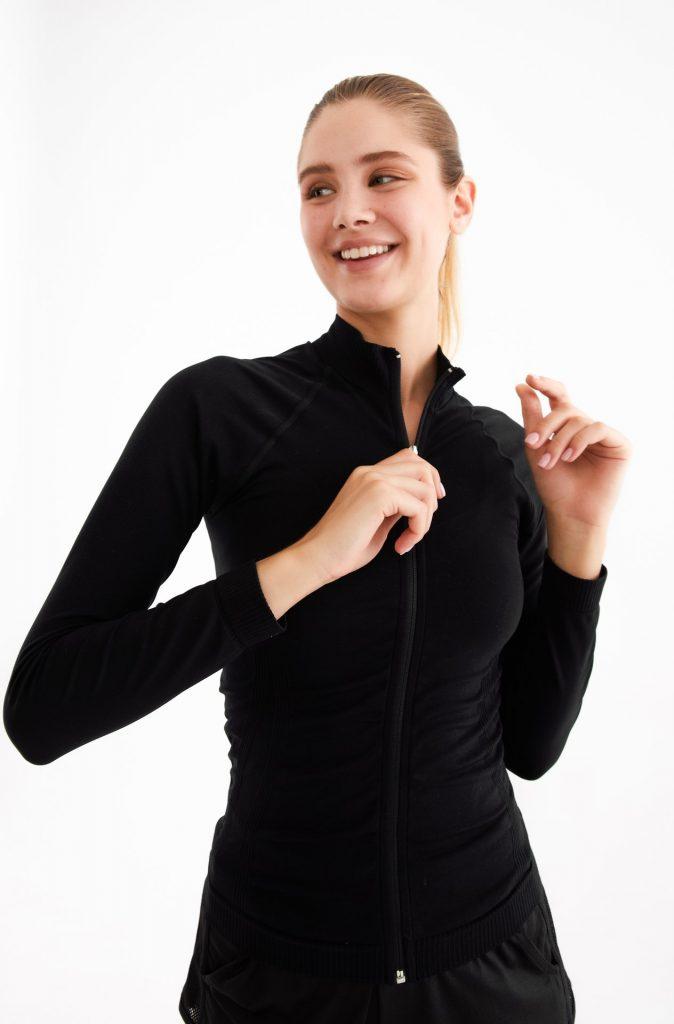Fermuarlı Spor Ceket Siyah